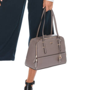 GUESS DEVYN dámska elegantná kabelka farba TAUPE