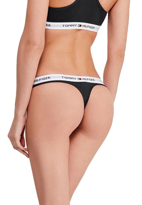 Tommy Hilfiger tanga Cotton Iconic Thong čierne 1
