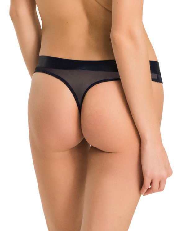 Tommy Hilfiger tangá Sheer Flex Cotton Thong modré