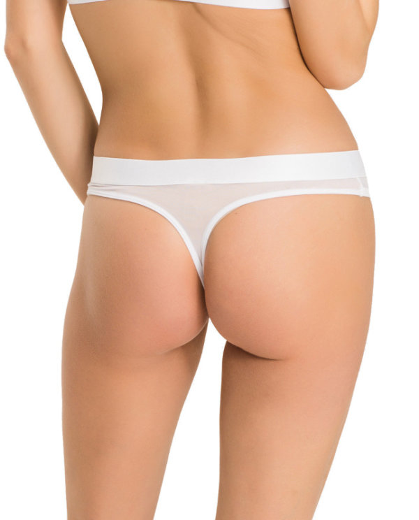 Tommy Hilfiger tanga Sheer Flex Cotton Thong biele