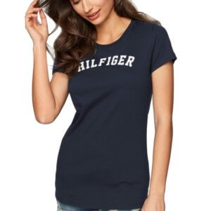 Tommy Hilfiger tričko SS Tee Print Logo modré  0d6cb7ad7be