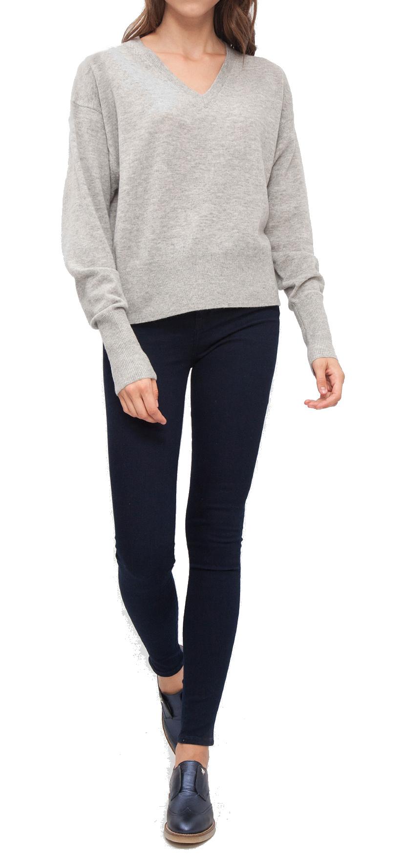 Tommy Hilfiger Gwynie V-Neck Sweater pulóver šedý  e274ad96b6c