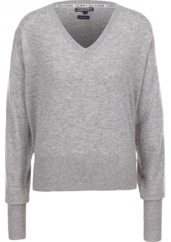 Tommy Hilfiger Gwynie V-Neck Sweater dámsky pulóver šedý