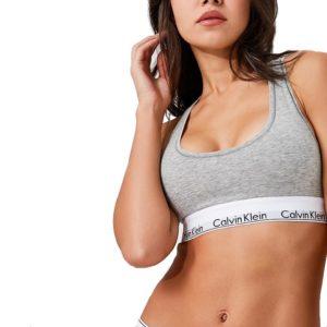 Calvin Klein podprsenka Bralette Modern Cotton šedá