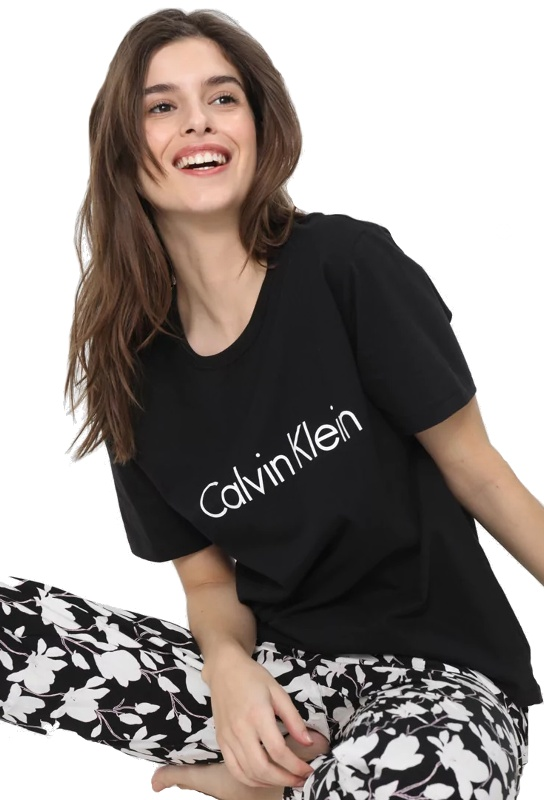 tricko calvin klein cotton ss crew neck cierne