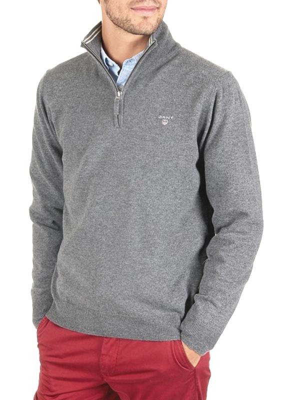 Gant pánsky sveter Super Fine Lambswool Zip Grey Melange
