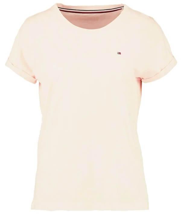 Dámske tričko Tommy Hilfiger CN TEE SS silver peony púdrové