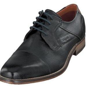 Pánske šnurovacie kožené topánky Bugatti Lavinio čierne
