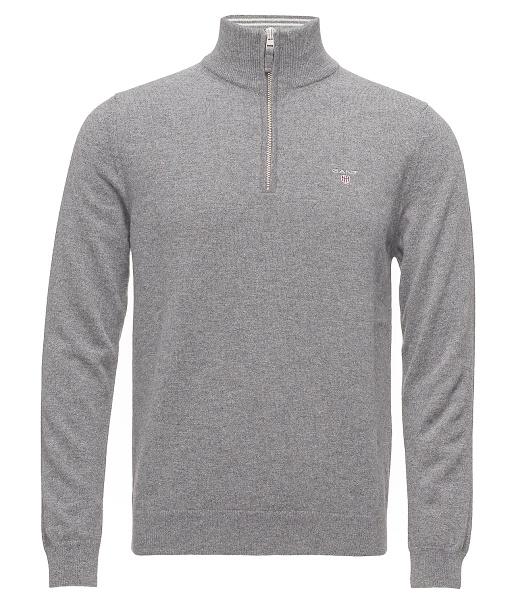 Gant pánsky sveter Super Fine Lambswool Zip Grey Melange 0