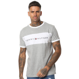 Tommy Hilfiger tričko pánske Original CN Tee SS Logo Flag 004 šedé