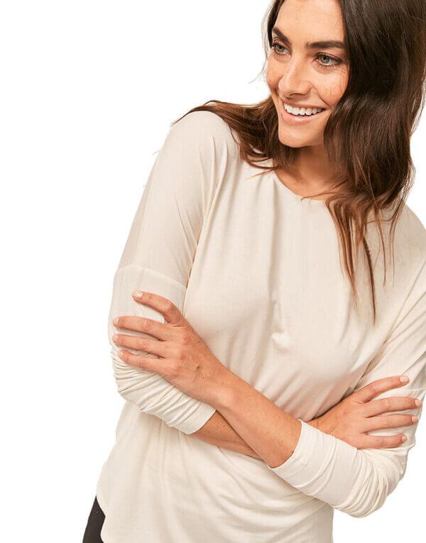Calvin Klein tričko dámske LS Curve Neck Top 101-1