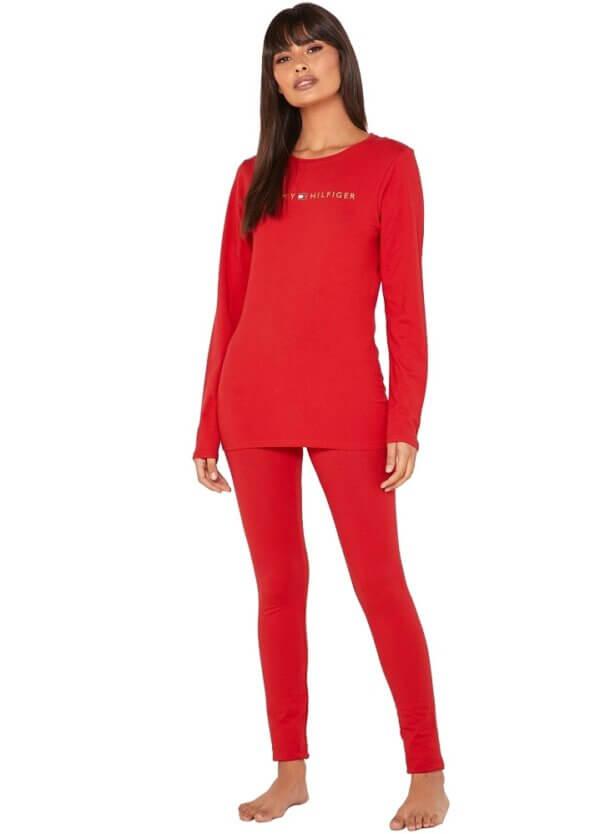 Tommy Hilfiger pyžamo Set LS red-gold 01