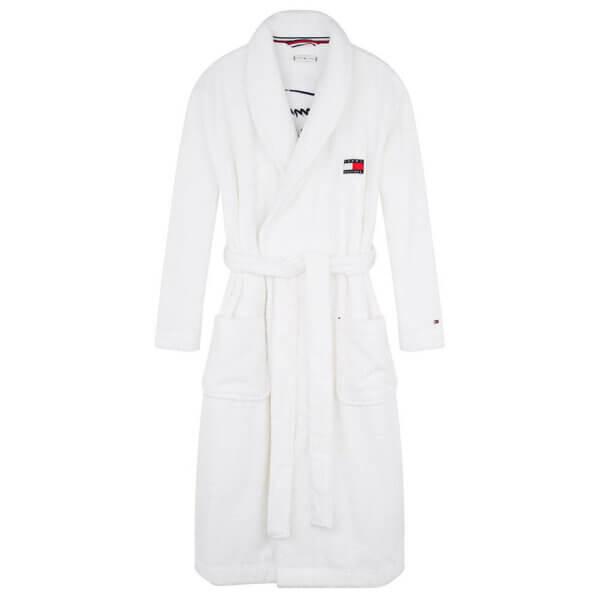 Župan dámsky Tommy Hilfiger Toweling Robe Signature YCD biely