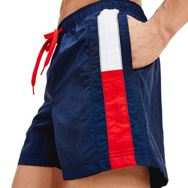 Tommy Hilfiger plavky pánske šortky kúpacie Flag Leg Swim Shorts CUN modré_01