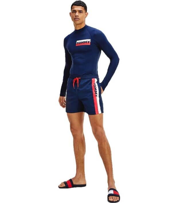 Tommy Hilfiger plavky pánske šortky kúpacie Logo Leg Swim Shorts CUN modré_03