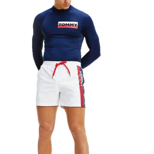 Tommy Hilfiger plavky pánske šortky kúpacie Logo Leg Swim Shorts YCD biele