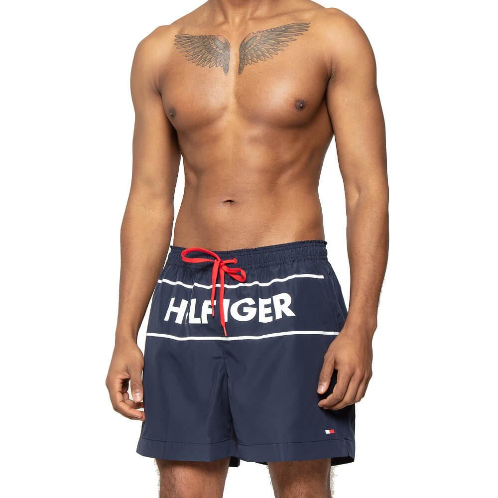 Tommy Hilfiger plavky pánske šortky kúpacie Logo Swim Shorts CUN tmavé modré