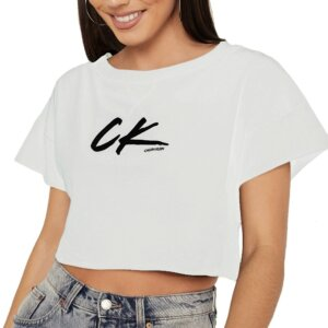 Calvin Klein tričko dámske Cropped Tee biele