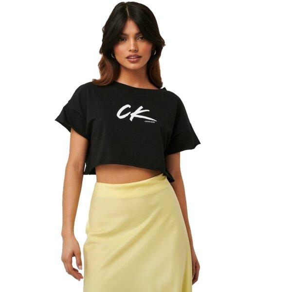 Calvin Klein tričko dámske Cropped Tee čierne