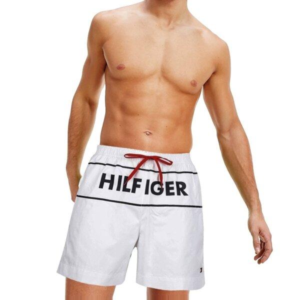 Tommy Hilfiger plavky pánske kúpacie šortky Logo Swim Shorts YCD biele