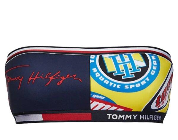 Tommy Hilfiger plavky dámske Multi Logo Bandeau Fixed 0LJ mullti
