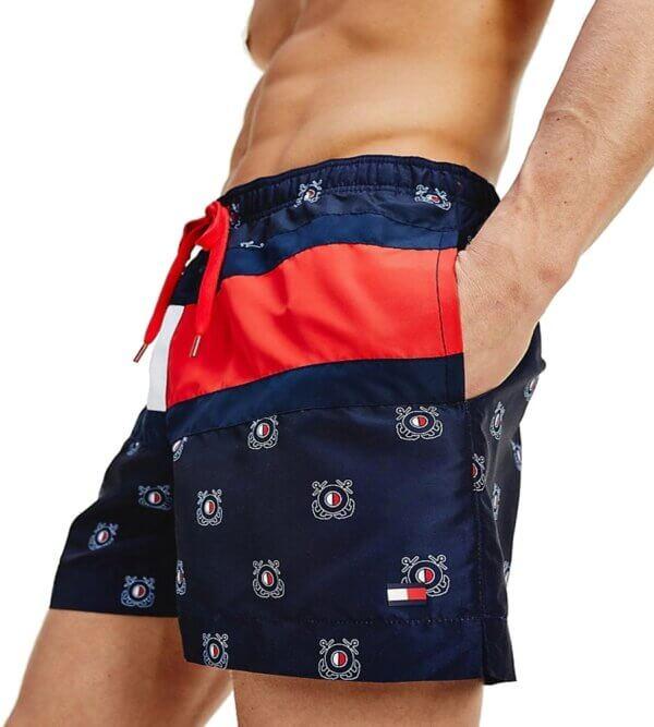 Tommy Hilfiger plavky pánske šortky kúpacie Nautical Flag Swim Shorts 0HB_01a