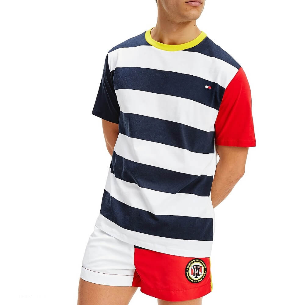 Tommy Hilfiger tričko pánske Drop Shoulder Tee CUN modré biele červené