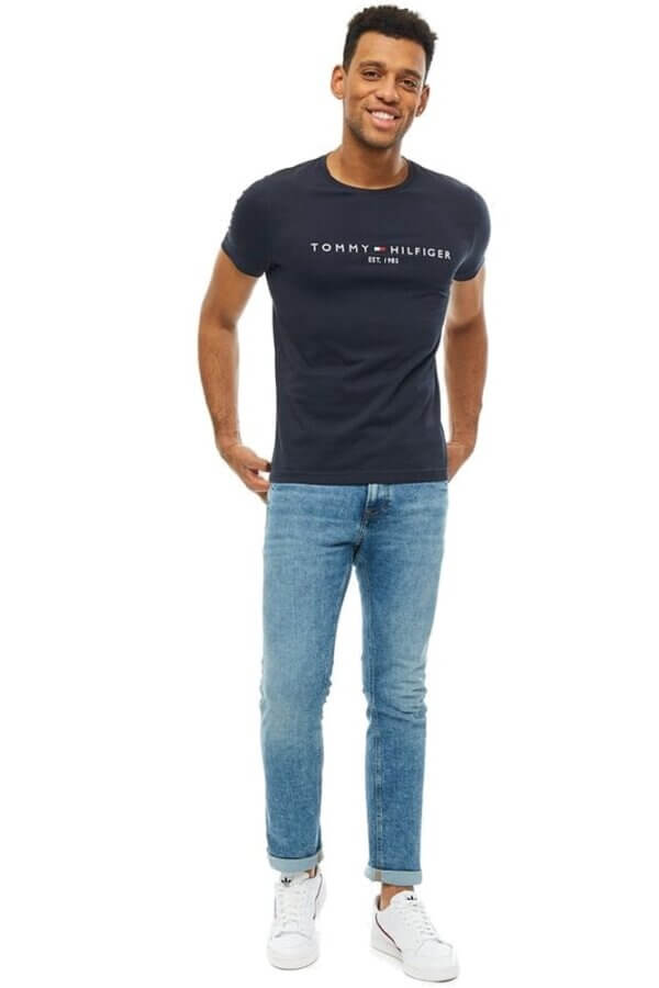 Tommy Hilfiger tričko pánske Flag Logo T-Shirt tmavé modré 403_02