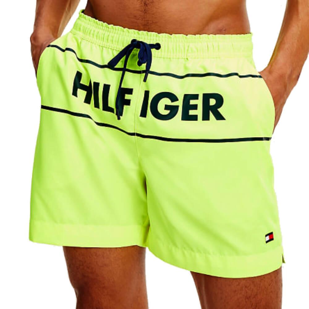 Tommy Hilfiger plavky pánske kúpacie šortky Logo Swim Shorts ZAA neón