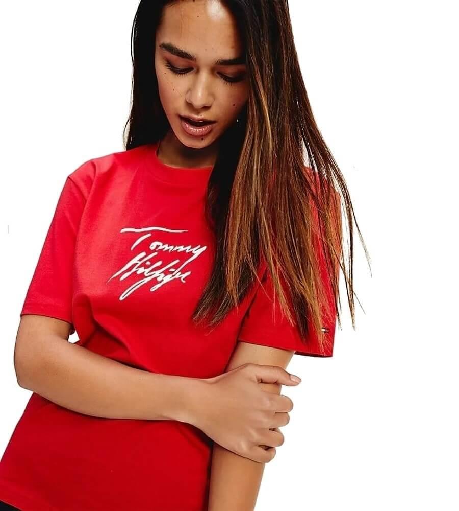 Tommy Hilfiger tričko dámske CN SS Tee Logo červené XCN