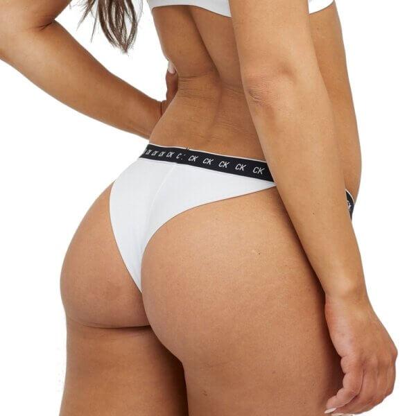 Calvin Klein plavky dámske Brazilian Core Mono Tape YCD biele