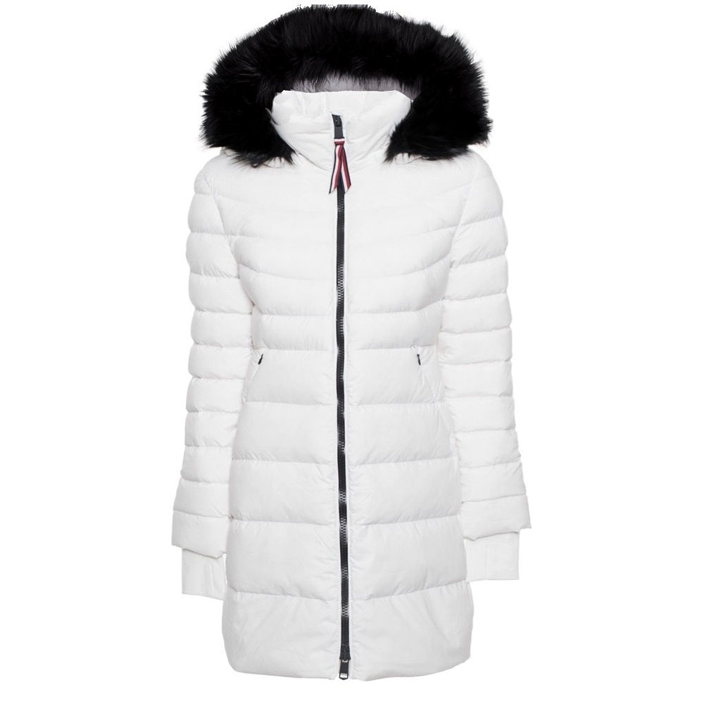 Tommy Hilfiger kabát dámsky páperový bunda Pamela Stretch Coat biela