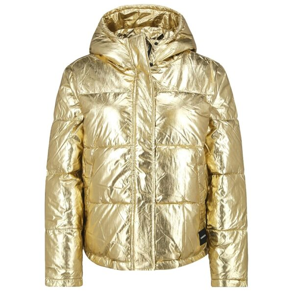 Calvin Klein Jeans bunda dámska zimná prešívaná vetrovka Metallic Puffer Gold zlatá
