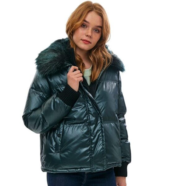 Tommy Hilfiger bunda dámska zimná Quilted Bomber smaragdová zelená 01