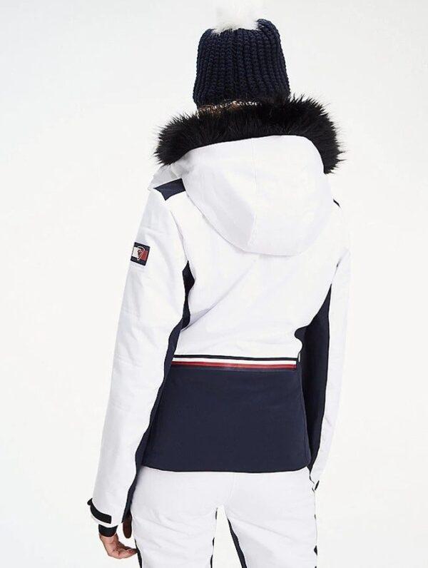 Tommy Hilfiger bunda dámska lyžiarska x Rossignol s kožušinou biela 01a