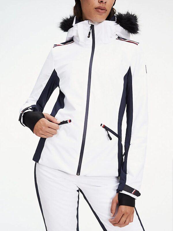 Tommy Hilfiger bunda dámska lyžiarska x Rossignol s kožušinou biela 02