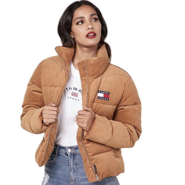 Tommy Hilfiger Jeans bunda dámska ziimná vetrovka Cord Puffa Padded Jacket ťavia 01