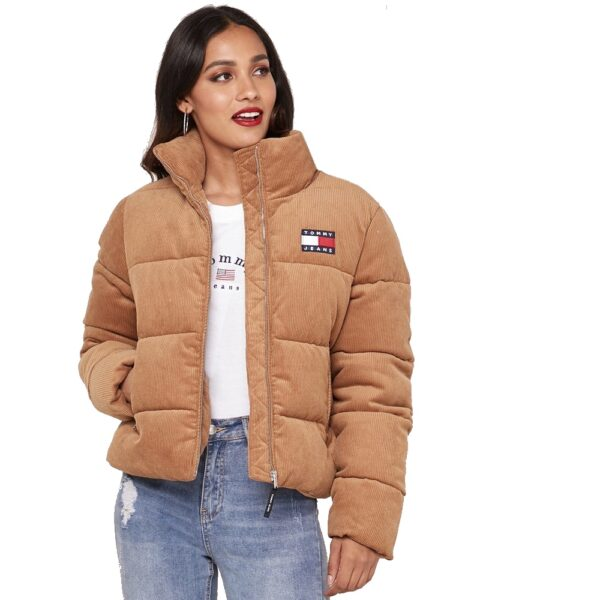 Tommy Hilfiger Jeans bunda dámska ziimná vetrovka Cord Puffa Padded Jacket ťavia 03