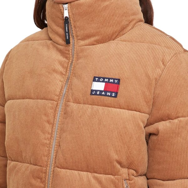 Tommy Hilfiger Jeans bunda dámska ziimná vetrovka Cord Puffa Padded Jacket ťavia 03a