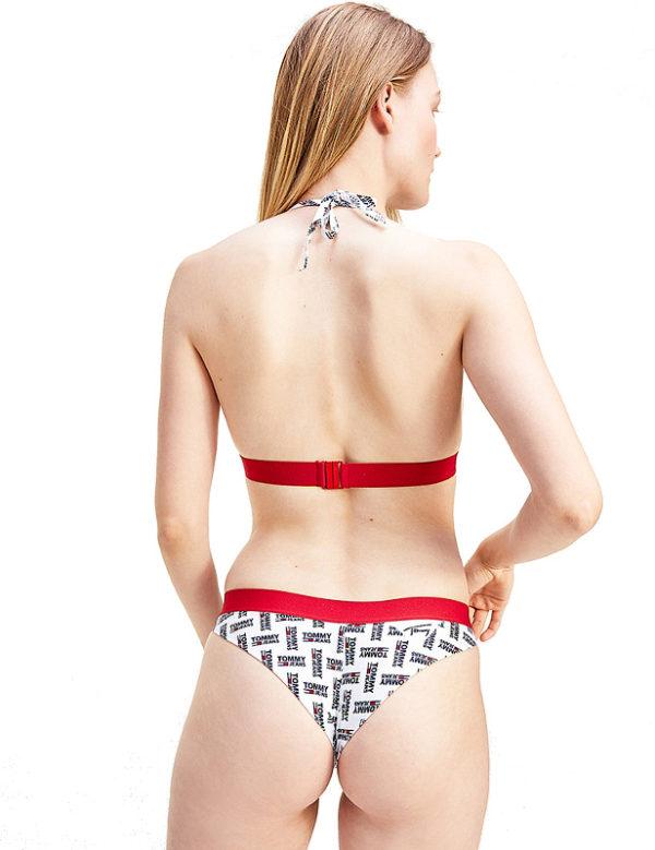 Tommy Jeans plavky dámske spodný diel Brazilian Print biele 0K4